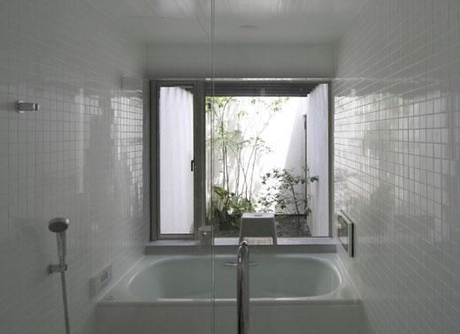 植栽の見える光庭に面する浴室
